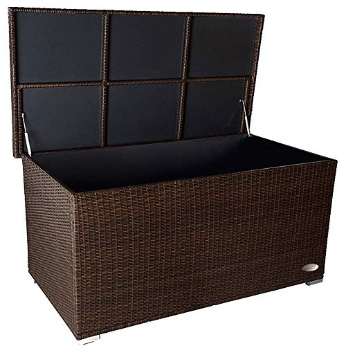PREMIUM 'Venezia' 950 L Polyrattan Garten Kissenbox wetterfest (regnet nicht rein) 146 x 83 x 80 cm, Auflagenbox mit verstärktem Deckel und Gasdruckfedern, auch als Tischplatte geeignet, Java Braun