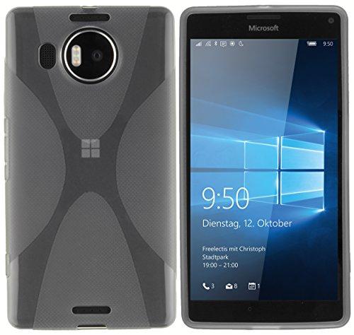 kazoj Schutzhülle kompatibel mit Microsoft Lumia 950 XL Hülle im X-Design aus TPU in transparent schwarz