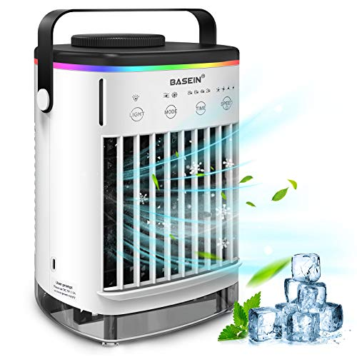 Portable Air Conditioner Evaporative Air Conditioner Fan with Double Water Tank 4 Speeds 8H Timer 7 Colors, Camping AC Unit, Personal Air Cooler Desktop Air Conditioner with Handle for Office, Room