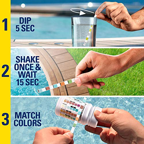 Spa and Hot Tub Test Strips Chlorine | Made in The USA | 5 Way Testing Strips for Hot Tubs, Jacuzzi