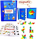 Wooden Pattern Tangram Magnetic Puzzle Shape Blocks Jigsaw Book Brain Teasers Stacking Games Early Educational Learning Challenge IQ Toy Gift for Kid Toddlers Age 3+ Years Old