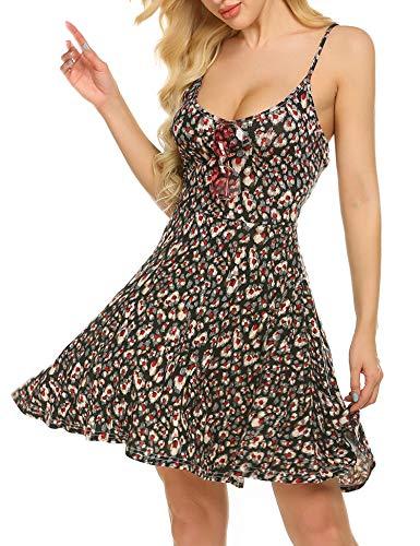 UNibelle Damen Negligee V-Ausschnitt Nachtkleid Nachthemd Spitze Nachtwäsche Sleepwear PAT3 L