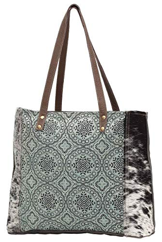 Myra Bags Floral Chic Canvas Tote Teal Cow One Size