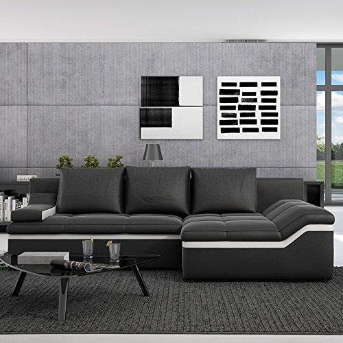 INNOCENT Sofa mit Schlaffunktion und Ottomane Kunstleder schwarz Bodoni Ottomane rechts