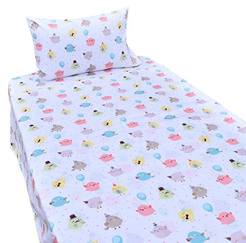 J-pinno Kids Boy Girl Lovely Birds Chicken 100% Cotton 210 Thread Count 3-Pieces Twin Bedding Set, Flat Sheet + Fitted Sheet + Pillowcase