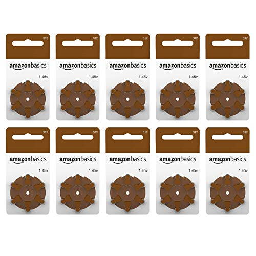 AmazonBasics 1.45 Volt Hearing Aid Batteries, Brown Tab - Pack of 60, Size 312