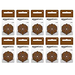 Amazon Basics 1.45 Volt Hearing Aid Batteries, Brown Tab - Pack of 60, Size 312 - Improved Performan