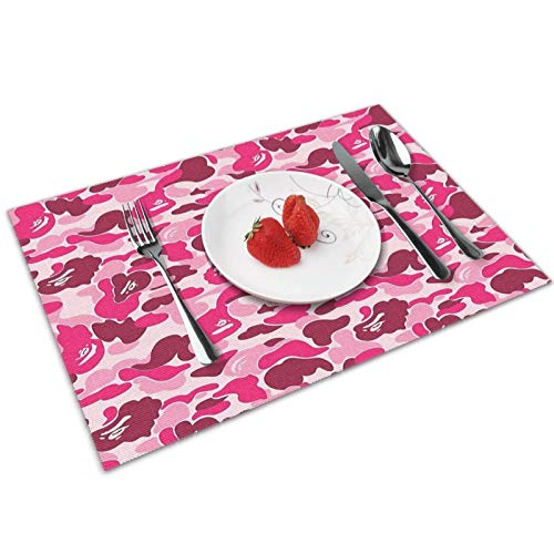 Lhgs5sv Pink Bape Camo Placemats Set of 4 Washable Heat Resistant Non-Slip Mats for Dining Table Decor 12x18 Inch