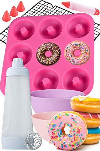Dippin#039Donutz Nonstick Silicone Donut Pan  Deluxe Baking and Decorating Supplies Bundle Including Doughnut Maker Molds Mixing Bottle Cooling Rack Dipping Bowls And Icing Decorarting Pen