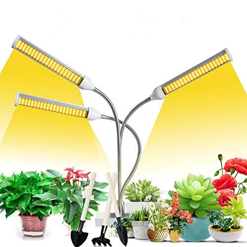 LED Grow Lampe,PflanzenLampe mit Auto ON/Off Timer, sonnenähnlichem Vollspektrum 3 Heads Grow Lampe 3/6/12H, 3 Arten von Modus, 5 Helligkeitsstufen