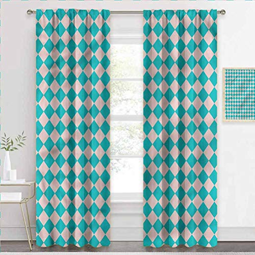 painting-home Decorative Blackout Curtains Geometrical, Retro Classical Tile Energy Efficient Window Curtain for Patio Door W84 x L72 Inch
