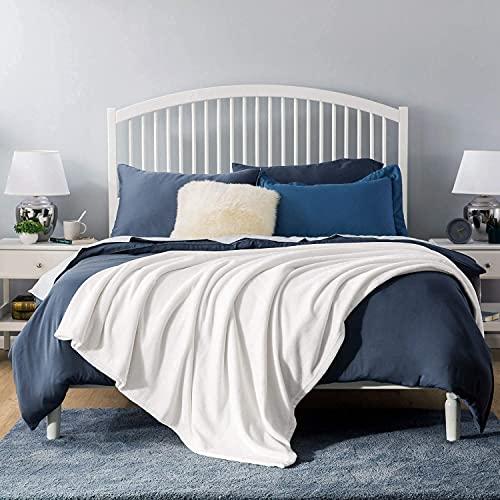 KEITE flauschig und plüsch Fleecedecke als Sofadecke Couchdecke Wohndecke,weiche& warme Sofaüberwurf Decke Wohndecken Kuscheldecken (weiß, 130 x 150 cm)