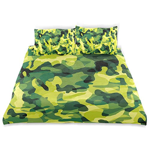 FCZ Duvet Cover Set Yellow Green Camouflage Pattern Abstract 3pcs Bedding Set Children Twin Size 66x90in Modern Customize Microfiber Quilt Bedspread with 2 Pillow Shams 1 Duvet Cover