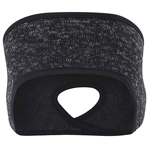 Women's Ponytail Headband Ear Warmer Head Wrap Yoga Hair Band Running Sweatband (Bigger-Black)