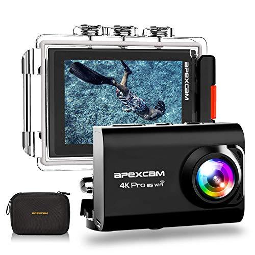 ApexcamAction Cam Pro【Aggiornato】4K 20MP Fotocamera EIS WIFI 2 Pollici Ultra HD Impermeabile 40M Sott\'acqua con MicEsterno 2.4G Telecomando 170°Grandangolare due 1200mAh Batterie e il Kit Accessori