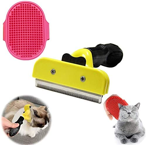 Rofessional De-shedding Tool and Pet Grooming Brush, Dog Grooming Brush, Silicone Pet Brush, Pet Massage Bath Shampoo Brush for Breeds of Dogs, Cats with Short or Long Hair, Small, Medium and Large