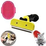 Undercoat deShedding Tool y Peine de Masaje para Mascotas, Cepillo para Perros y Gatos con Efecto de Masaje, Cepillo Perros y Gatos Mascotas Quitar y Remover el Pelo Muerto Carda con Púas Flexible