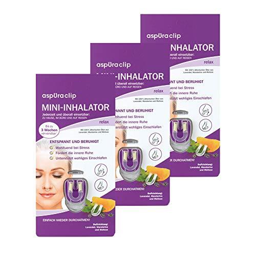 aspUraclip Mini-Inhalator relax (3er Pack) | Erster Mini-Inhalator für die Nase | Mit 100% Bio-Ölen aus Lavendel, Mandarine und Melisse | Wohltuend bei Stress und innerer Unruhe