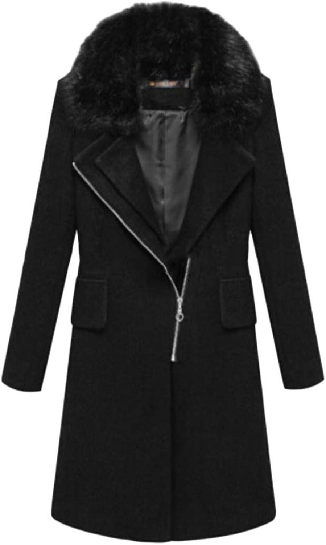 P&E Womens Zipper Faux Fur Collar Thermal Detachable Woolen Lapel Outerwear