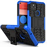 ROISKIN for Google Pixel 5 Phone Case 6 inch Screen with Kickstand,Dual Layer Shockproof Armor Protective Case,Blue