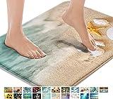 Britimes Bath Mats for Bathroom, Bathroom Mats Rugs No Silp, Beach Starfish Sea Shell Washable Cover Floor Rug Carpets Floor Mat Bathroom Decorations 16x24 Inches for Kitchen Bedroom Indoor