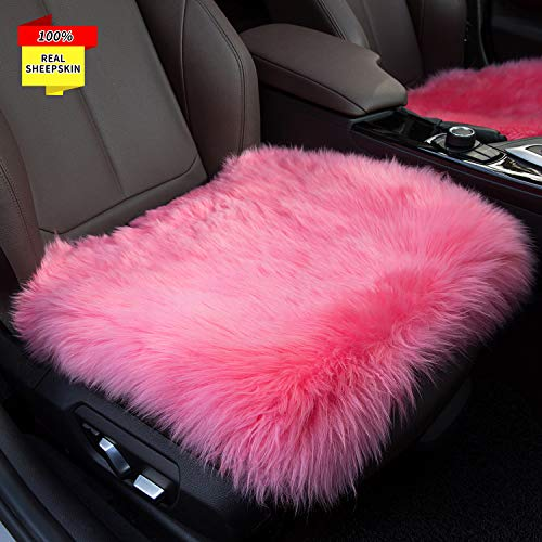 Sisha Sheepskin Seat Cushion Cover Winter Warm Natural Wool Car Seat Covers Universal Fit for Most Car, Truck, SUV, or Van Front Pink