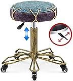 BCX Hocker Retro Drehhocker mit 5 Rädern Hydraulisch Höhenverstellbar Wasserdicht Gepolsterter Sitz Salon Stuhl für Beauty Office Klinik Salon, 1,2