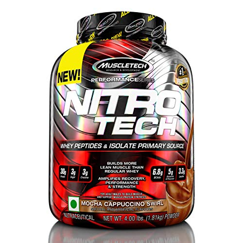 Muscletech Performance Series Nitrotech Whey Protein Peptides & Isolate (30g Protein, 3g Creatine, 6.9 BCAAs, 5.3g Glutamine & Precursor, Post-Workout) - 3.97lbs (1.8kg) (Mocha Cappuccino Swirl)