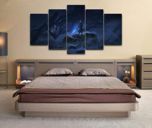 CXVXC5 Piezas - Cuadro sobre Lienzo Game of Thrones in Dragon Night ThroneSo Crazy Art de Estilo Moderno Ideal - para Decoración hogareña - Listo para Colgar