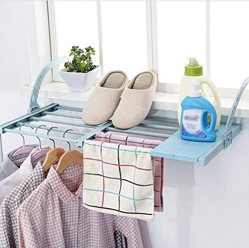 jkhk Ausziehbar Heizkörpertrockner Wäschestände Balkonregal,Balkon Retractable Kleiderbügel,für Fensterbrett den Innen und Außenbereich-Sky_Blue_Länge:45-80CM_Breite:35CM
