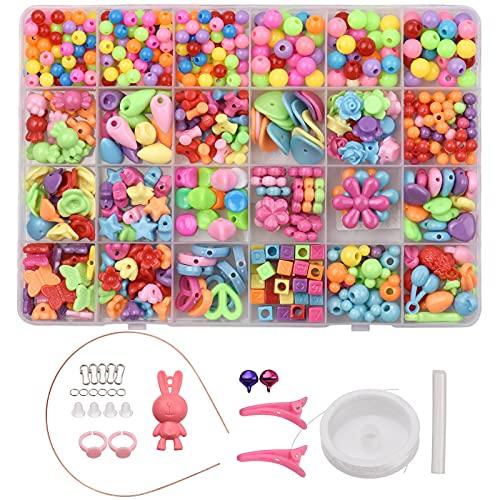 Anself Abalorios para Hacer Pulseras Kit de fabricación de pulseras de abalorios con letras de colores mezclados Bolas para Hacer Pulseras