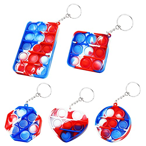 5 Pieces Simple Dimple Fidget Toy,Mini Push Pop It Keychain,Anxiety Stress Reliever Office Desk Gifts for Kid and Adult.
