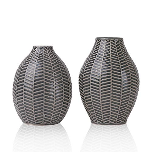TERESA'S COLLECTIONS Ceramic Flower Vases, Set of 2 Gray Handmade Modern Decorative Vase for Living Room, Kitchen, Table, Home, Office, Wedding, Centerpiece or as a Gift, 15cm & 14cm