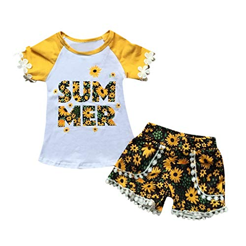 Xniral Baby Mädchen 2 Stücke Patchwork T-Shirt + Shorts, Beiläufig Chrysantheme Druck Kinder Party Outfit Kleidung Sets(Gelb,18-24 Monate)