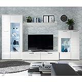 Möbel Akut Wohnwand Anbauwand New Long Front weiß Hochglanz Schrankwand mit LED