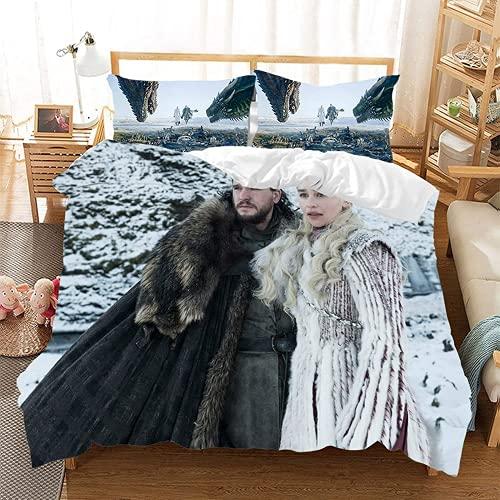 QWAS Juego de ropa de cama de Juego de Tronos, funda nórdica estampada con cremallera, ropa de cama para niños y niñas (X01, 220 x 240 cm + 50 x 75 cm x 2)