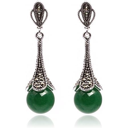 21mm White Blue Red Green Beads Tibetan Silver Leverback Stud Hoop Earrings