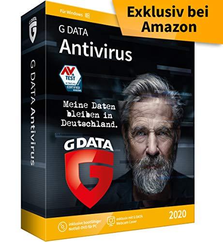 G DATA Antivirus 2020 | 3 PCs - 1 Jahr, DVD-ROM inkl. Webcam-Cover | Virenschutzprogramm für Windows 10 / 8 / 7 | Made in Germany
