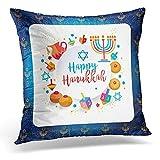 Funda de Almohada Fiesta judía ha-nukkah Símbolos Tradicionales de Janucá Dreidels de Madera Spinning Top Letras hebreas Donuts