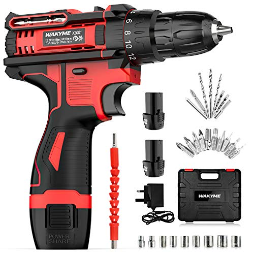 WAKYME 12.6V Cordless Drill Driver, Power Drill 30Nm, 8+3 Clutch, 3/8' Keyless Chuck, Variable Speed & Built-in LED Electric Screw Driver with 2 1500mAh Batteries (Drill Drivers)