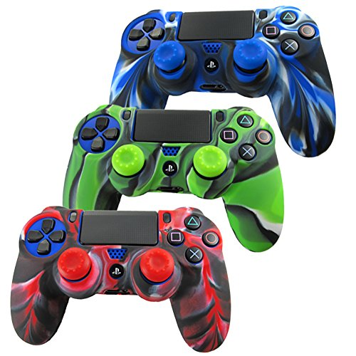Pandaren® silicone skin for PS4/ SLIM/ PRO controller x 3 + thumb grip x 6...