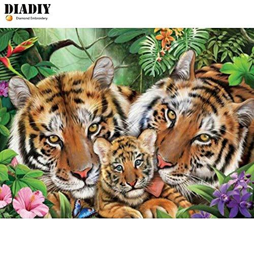FHGFB 5D-DIY-Diamant Malerei Tiger Tier Stickerei Kreuzstich Home Decoration Malerei Kunstwerk Wandbild Geschenk Runde Diamant Rahmenlos -40x50cm