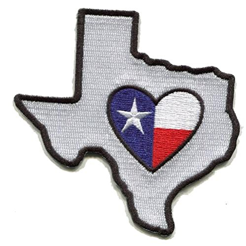 Texas Patch Deep in The Heart in Texas Self Sticky Back Embroidered Tx State Shaped Apply to Fabric Water Bottle Decal Flag Mess with Austin Weird