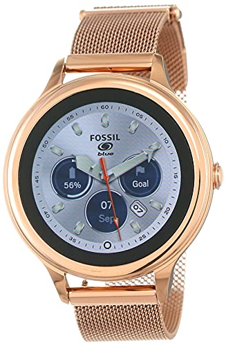 Fossil 42mm Gen 5E Stainless Steel Mesh Touchscreen Smart Watch with Heart Rate, Color: Rose Gold (Model: FTW6068)