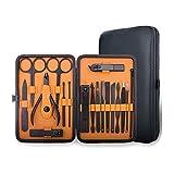 Juego de manicura y pedicura para hombres y mujeres profesional 18 en 1, herramienta de aseo de acero inoxidable de alta calidad para viajes y hogar