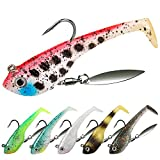 Fishing Jigs Lures with Handmade Lead Heads Paddle Tail Spinner Baits for Bass Trout Walleye Musky Soft Plastic Fishing Lures for Fishing Gear Gifts for Men