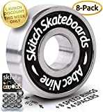 SKITCH Pro Skateboard Bearings Set - Precision Fast Spin ABEC 9 Chrome Steel...