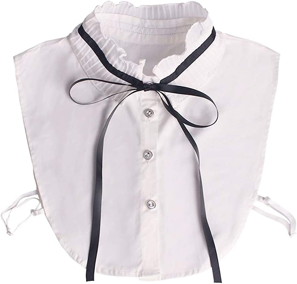 YOUSIKE Neck Chain, Korean Ladies Pleated Ruffles Fake Stand Collar Lace-up Ribbon Bowtie Elegant Detachable Cotton Half-Shirt Dress Sweater Accessory