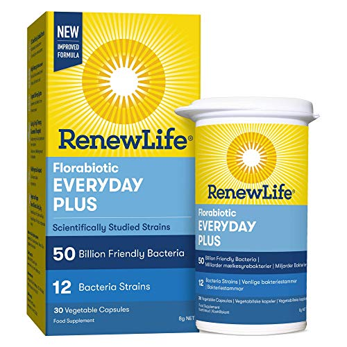 Renew Life Everyday Plus 50 Billion Friendly Bacteria | 12 Bifidobacterium and Lactobacillus Strains | One Month Supply | 30 Capsules