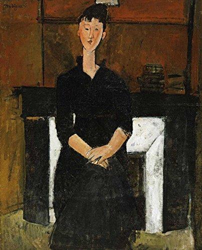 AFDRUKKEN-op-GEROLDE-CANVAS-Vrouw-zaterdag-door-een-open-haard-Modigliani-Amedeo-Abstract-Afbeelding-gedruckt-op-canvas-100%-katoen-Opgerolde-canvas-print-Afmeting-86_X_71_cm